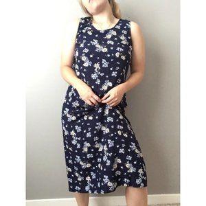 Vintage Floral Midi Daisy Sundress Navy Blue 0552